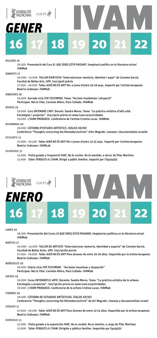 IVAM semana del 16 al 22 enero 2017
